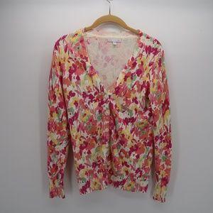 GAP Women's V-Neck Floral Sweater Top Size M